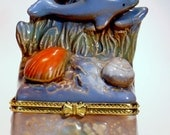 Jewelry Box, Dolphin Trinket box, Ceramic, Home Decor