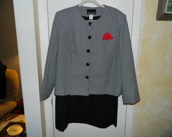 Gently Used 1980-90's JOSEPH FELDMAN Black Hounds-tooth Jacket Blazer Skirt Suit Size 20