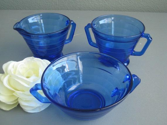 Collection of Vintage Depression Glass Blue Hazel Atlas Moderntone circa 1930s Cobalt Blue Glass Creamer Sugar Bowl Retro Blue Dishes