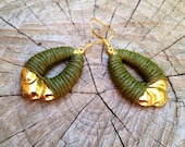Olive Green Earrings, wrapped with cord