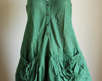 Comfortable sumer top short dress : cotton green
