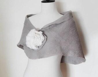 Wedding Shawl Bridal Wraps Shrugs Silver Grey Stole Scarf Wool with brooch