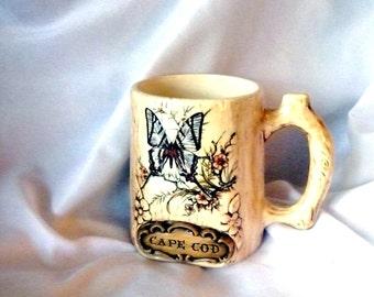 1970's Treasure Craft Wood Grained Ceramic Mug Cape Cod Souvenir Butterfly