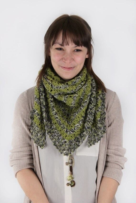 Green crochet scarf - sage greens - neck warmer - shawl