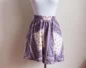 High Waisted Mini Skirt - Floral Handkerchief Pattern