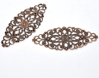 Copper Filigree Wraps -  Flower Connectors - 80x35mm - 8pcs - Ships IMMEDIATELY  from California - CC14