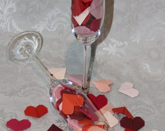 Origami Hearts - set of 50 units - shades of red color