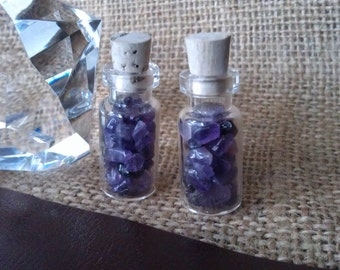 Gemstones,Amethyst Smooth Polished Crystal Pebbles ,In a 18x9mm Glass Bottle, Removable Cork Stopper(1 bottle)
