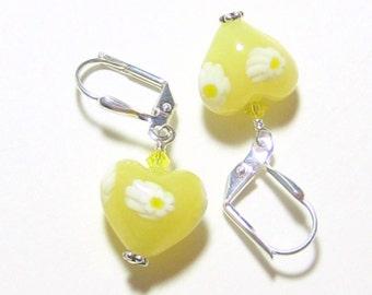 Murano Glass Yellow Heart Millefiori Earrings, Venetian Jewelry, Italian Jewelry, Leverback Earrings