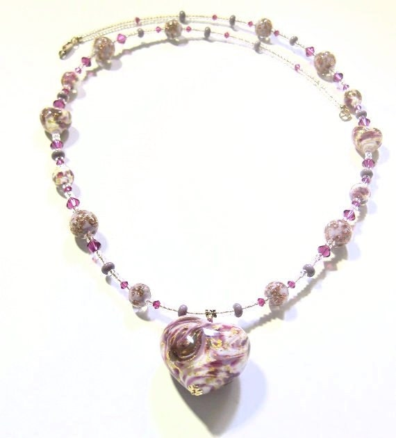 Murano Glass Purple Pink Necklace, Italian Jewelry, Venetian Heart Necklace, Heart Necklace