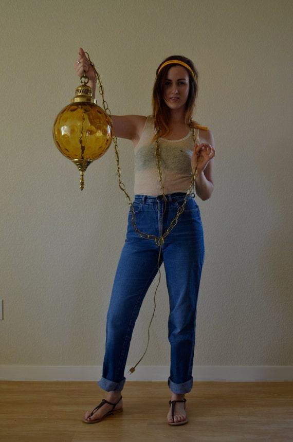 1970s MED/LRG Grapevines high waist faded denim blue jean pants