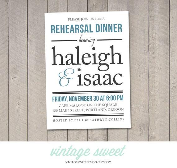 wedding rehearsal dinner invitation diy by vintagesweetdesign