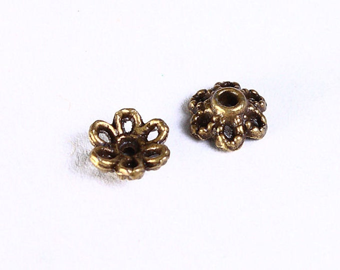 6mm antique brass flower bead caps - 6mm petite flower beadcaps - Petite textured beadcap - Nickel free Lead free (856) - Flat rate shipping