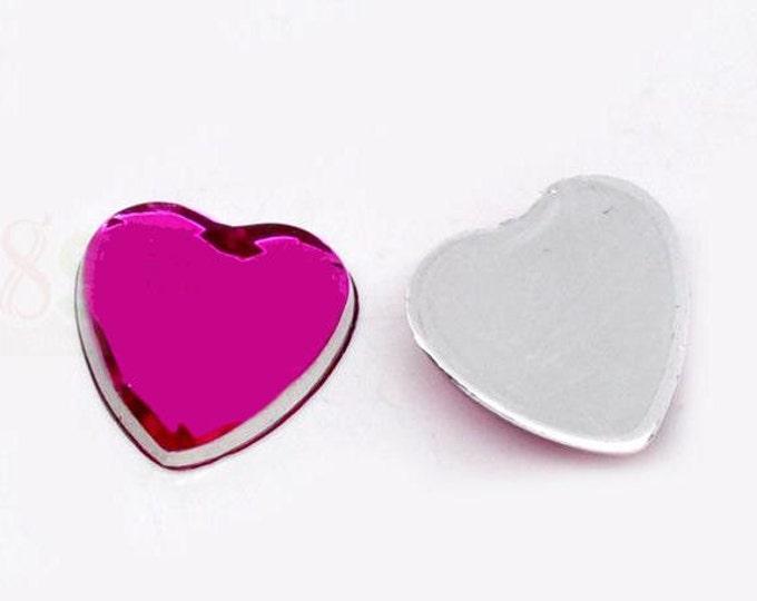 Dollar Sale Clearance - 8 Hot pink fuschia heart resin cabochon 8mm 8pc (922)