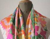 Jeanne LANVIN SCARF // Vintage French Silk Foulard // Neon Color - LaSartoria
