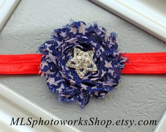 4th of July Baby Star Headband - Navy Blue & White Star Print Shabby Chic with Star Rhinestone Center - Independence Day Hair Bow