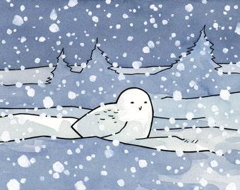 Snowy Owl Print 5x7 whimsical illustration