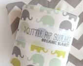 SALE // Swaddling Blanket // Neutral Elephant Print, Chartreuse, Seafoam and Gray, Little Hip Squeaks Spring Collection