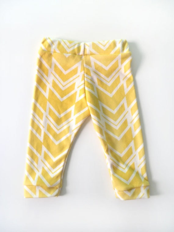 Baby Leggings, MADE TO ORDER, Bright Yellow Ikat Braid, Organic Cotton Leggings by Little Hip Squeaks