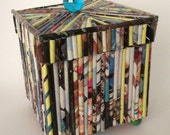 25% OFF--Upcycled magazine reed box / repurposed / kitsch / recycled / jewelry box / paper goods