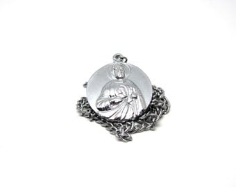 Vintage Christ Medal Silver Tone Religious Charm Necklace