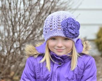 girls hat, baby hat, crochet baby hat, kids hat, crochet kids hat, newborn girl hat, purple hat
