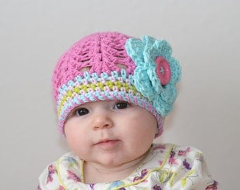 baby girl hat, baby hat, crochet baby hat, girls hat, baby girl's hat, little girls hat