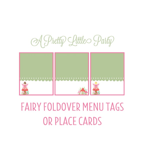 Fairy fold over menu tags - Pixie place cards -  Woodland fairy - Party Supplies - INSTANT DOWNLOAD