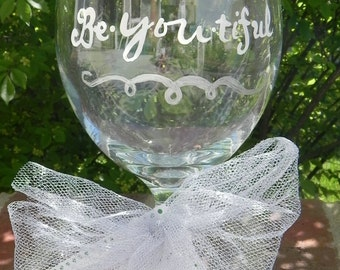 Bridesmaid Glass - Hand Painted and Personalized