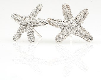 Silver Starfish Earrings for women.Handmade by Sierpe y Becerril jewellers from Spain.