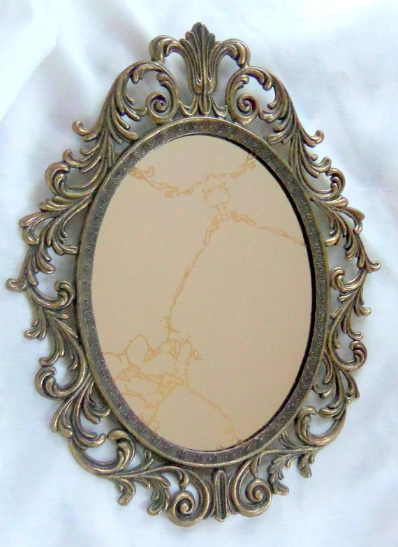 vintage oval mirror antique brass frame ornate treasury item