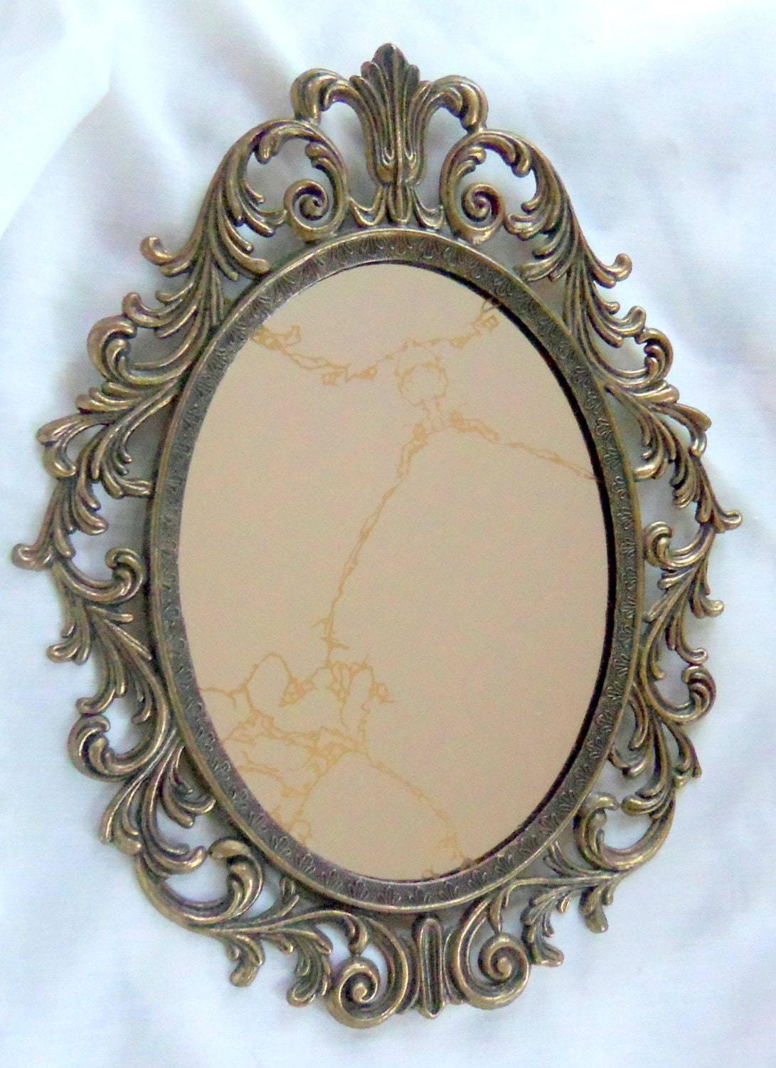 Vintage oval mirror antique brass frame ornate treasury item for Antique mirror