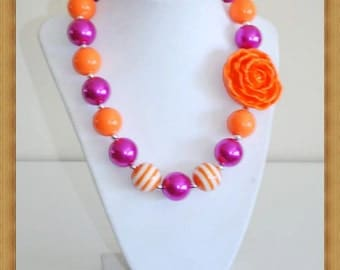 Pink and Orange Chunky Necklace