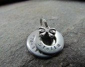 Small Pet Tag - Stainless Steel Washer with Charm - Durable Metal Pet Tag - Hand Stamped Tag - Dog Collar Tag - Cat Collar Tag