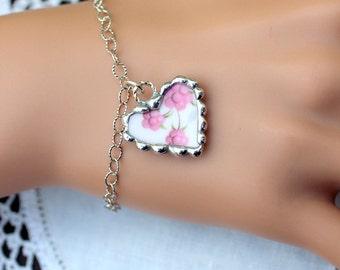 Broken China Jewelry, Charm Bracelet, China Heart, Pink Flowers China, Sterling Silver Bracelet