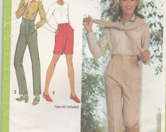 1980s Simplicity Pattern No 9327  for Misses Pants in Three Lengths Size 16  Waist 30 inch, Uncut, Factory Folded