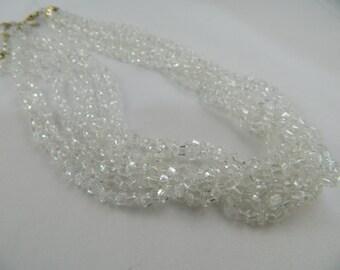 Multistrand Crystal Necklace / Vintage Glass Necklace / Bridal Necklace / Crystal Necklace