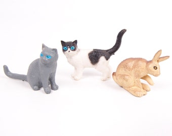 Vintage Hard Rubber Animal Figurines Cats Rabbit Lot of 3 Child Bedroom Decor Toy