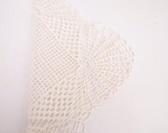 Vintage Square Crochet Doily Ivory Linen Dresser Lamp Elegant Vanity Dresser