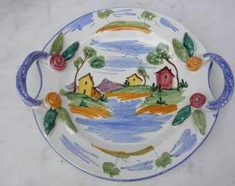 "Vintage Italian Hand Painted Ceramic Handled Scenic 10"" Plate w/ Handles"