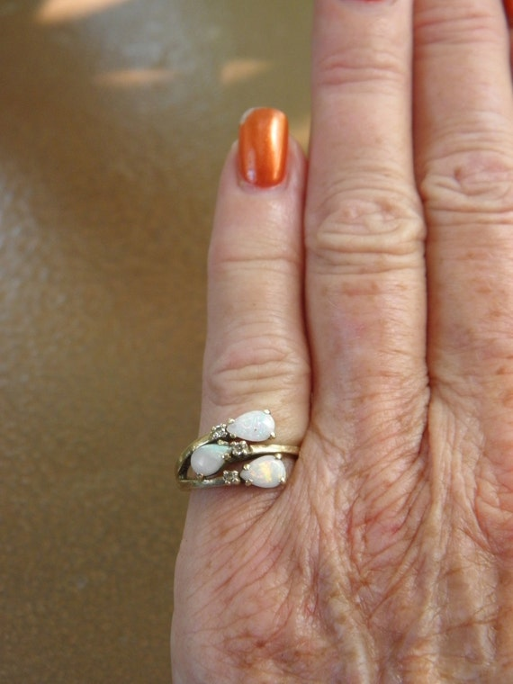 Reserved, Vintage 10K Yellow Gold Natural Opal & Diamond Crossover Ring, 3 Pear Shaped Opals, 3 Single Cut Diamonds,  sz 4.75