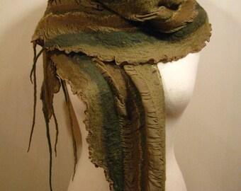 Felted scarf, nuno, merino wool and silk, carthusian, green and kaki