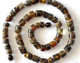 Baltic Amber Necklace For Men, Black Amber Beads, Unisex Necklace