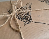 Sparrow Rustic Bird Lino Printed Wrapping Paper - Three sheets - 50 x 70 cms