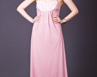 SALE 50% OFF 70s Vintage Lace Bib Maxi Dress in Pale Pink