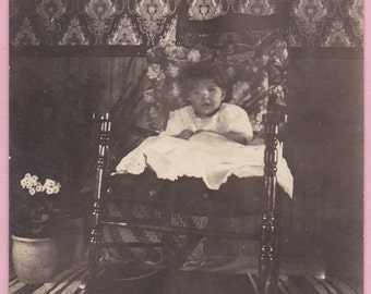 "Ca. 1909 ""Girl on Bed"" Real Photo Postcard - 413"