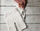 Newborn Flower Bonnet  Hat and Matching Pants Set Photo Prop