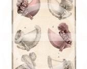 REGENCY PRINTS NO: 8  - Digital Collage Sheet - Printable Download - Scrapbooking - Bonnet - Jane Austen - hats