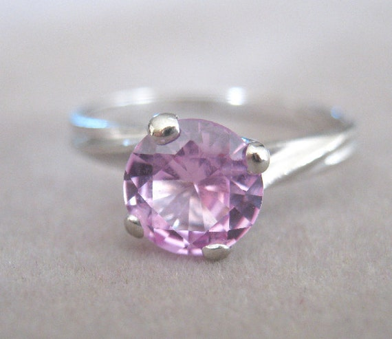 Princess Bride Pink Zircon and White Gold Ring
