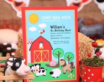 DIY PRINTABLE Invitation Card - Farm Barn Yard Birthday Party - PS809CA1a1